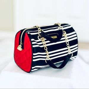 Betsey Johnson Satchel Bag - Black & White Stripes